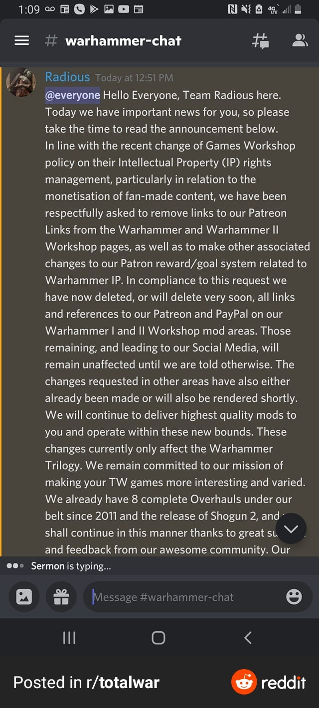 GW GOES AFTER TOTAL WAR MOD TEAM. .. From what I have seen on a Reddit thread, GW just wants the mod team to stop monetizing the mod. From what I have heard, this mod actually ties their updates wi