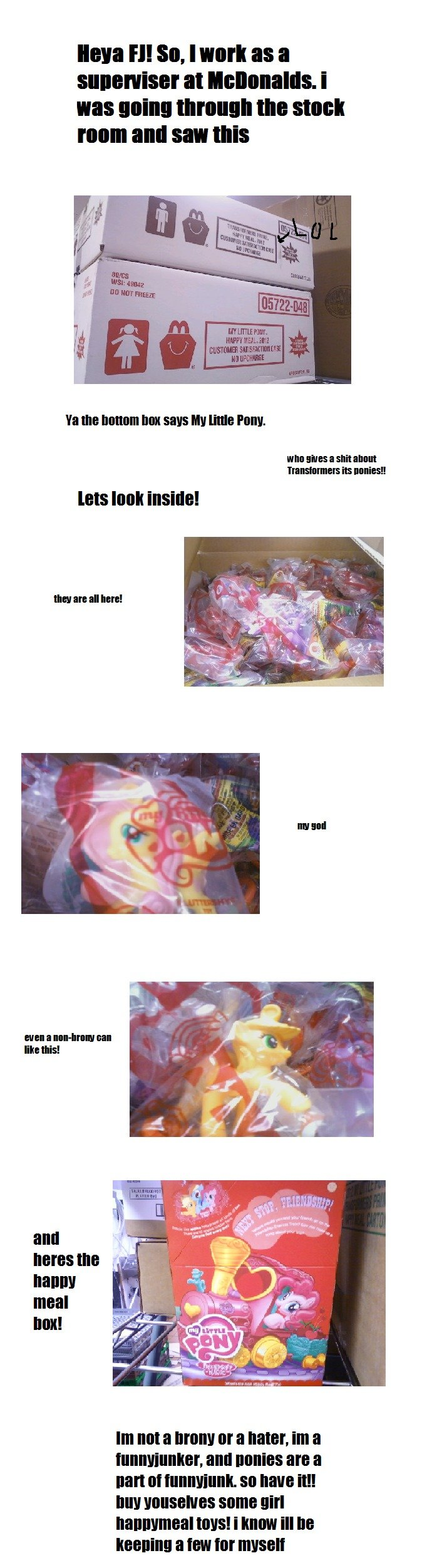"""happy meal toys!!. edit-lol i spelled """"supervisor"""" wrong hahaha i think this is awesome and im not even a brony. (i think they start the 8th this mont"""