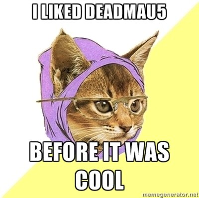 hipster kitty. deadmau5 fans unite!.