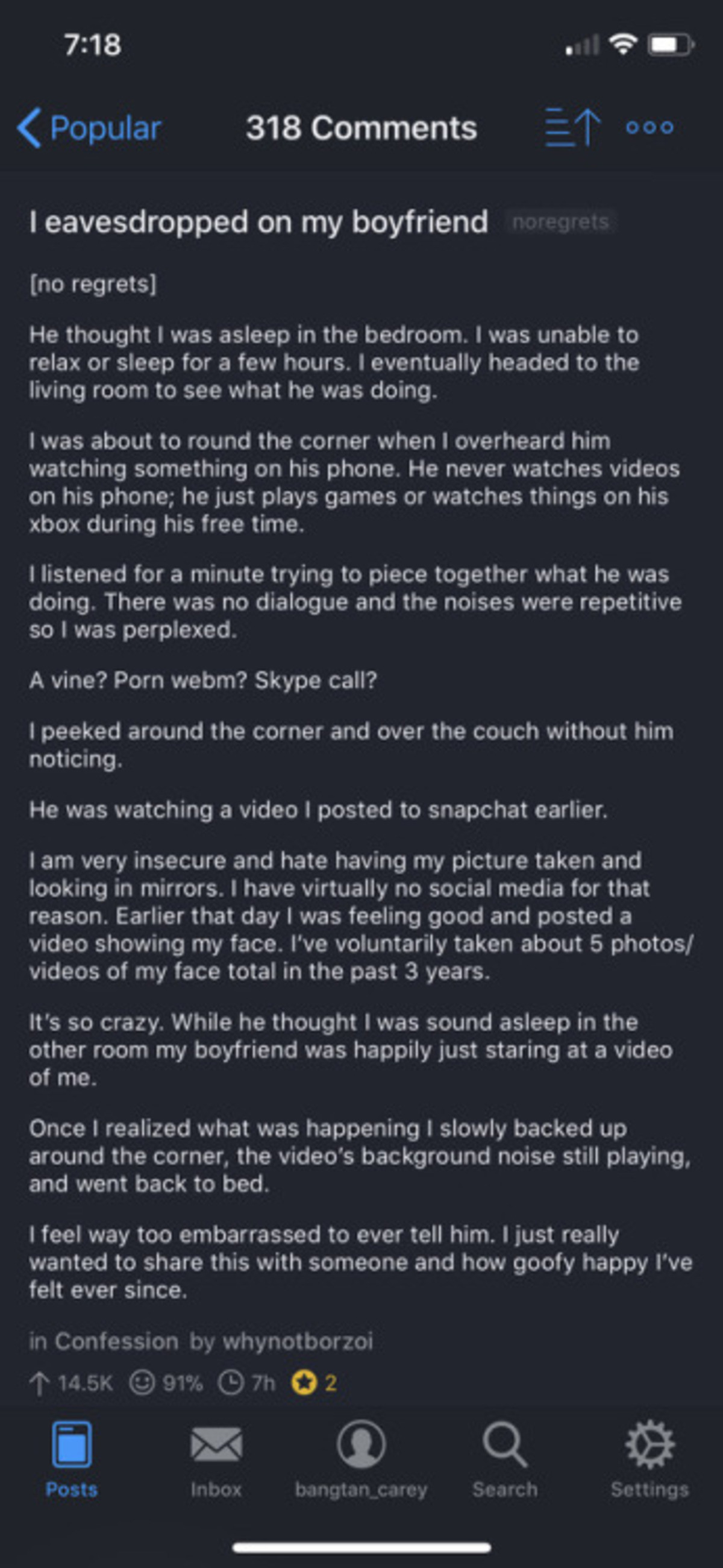 His diamond.. join list: HappyThoughts (1589 subs)Mention History. Popular 318 Comments 2 7 I eavesdropped on my boyfriend no regrets] He thought I was asleep i