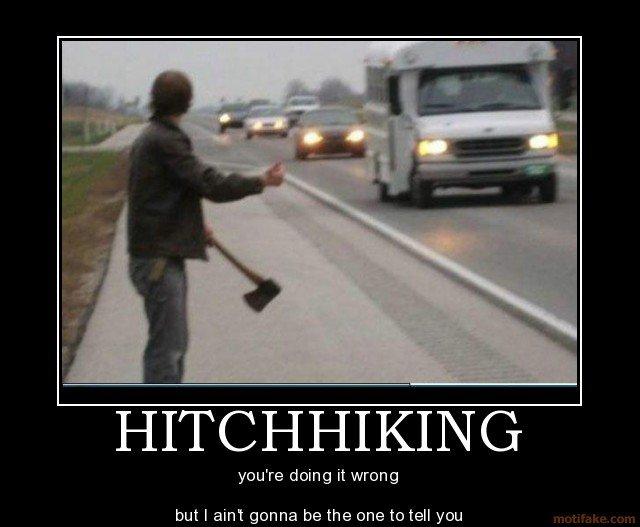 HITCHHIKING. .