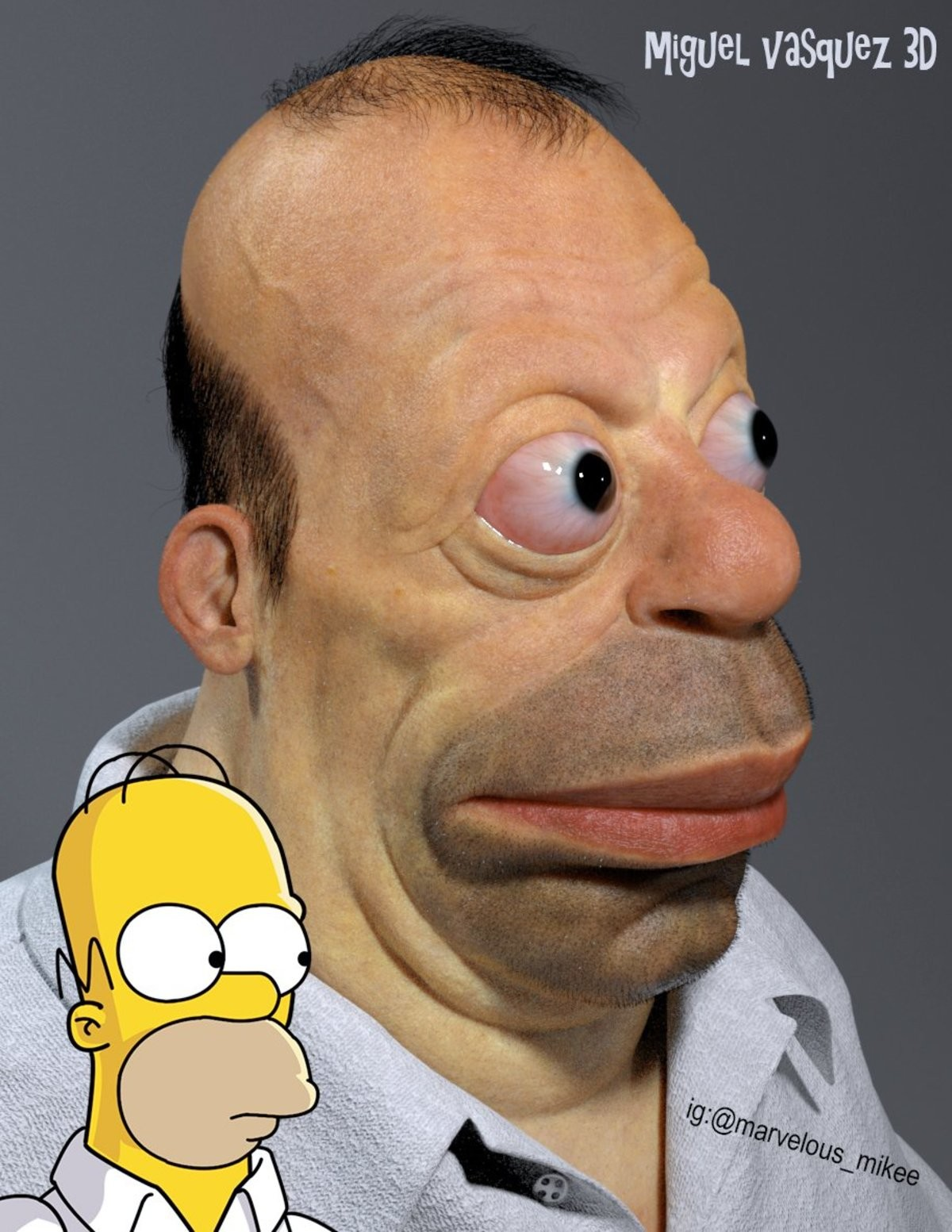 Homer Simpson. By Miguel Vasquez .. What in the name of eyeball-popping Christ is that thing