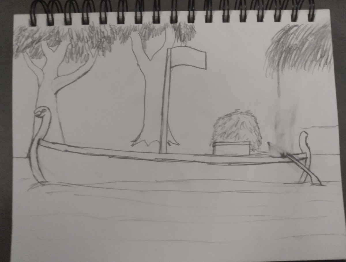 I didn't finish drawing anything today. Pirate barge from the relief river Delta. Scarlett was supposed to be at the rudder while Manuel the Scrivener is trying