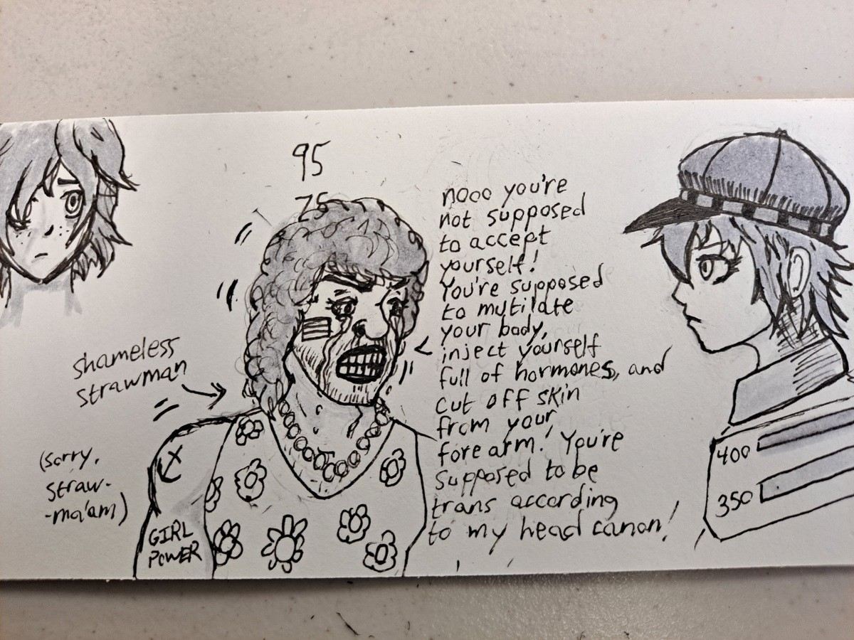 I drew a meme in art class. It's kind of .. >Straw ma'am