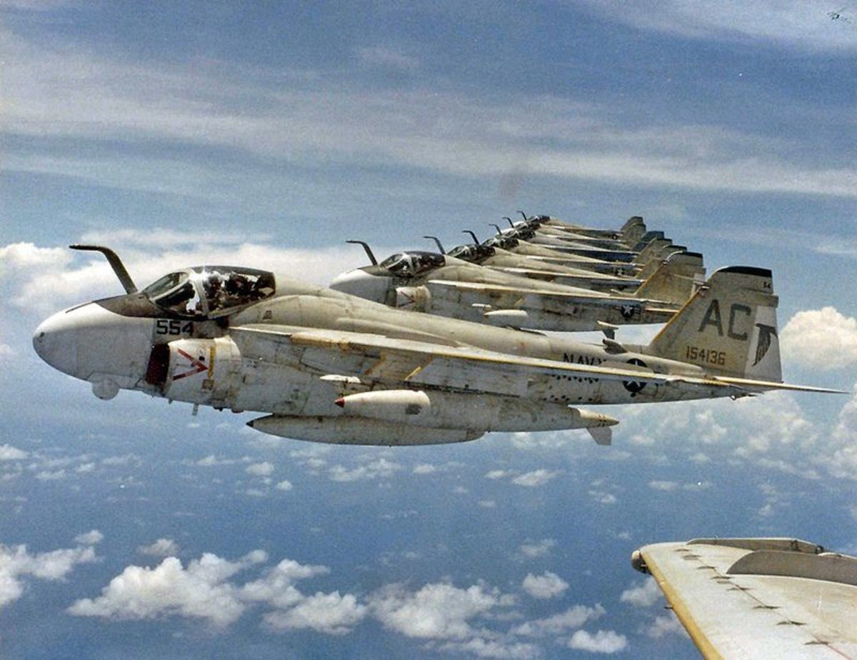 I know what I got. A formation of well weathered A-6E intruders off of USS John F. Kennedy, sometime around 1984, 1985..