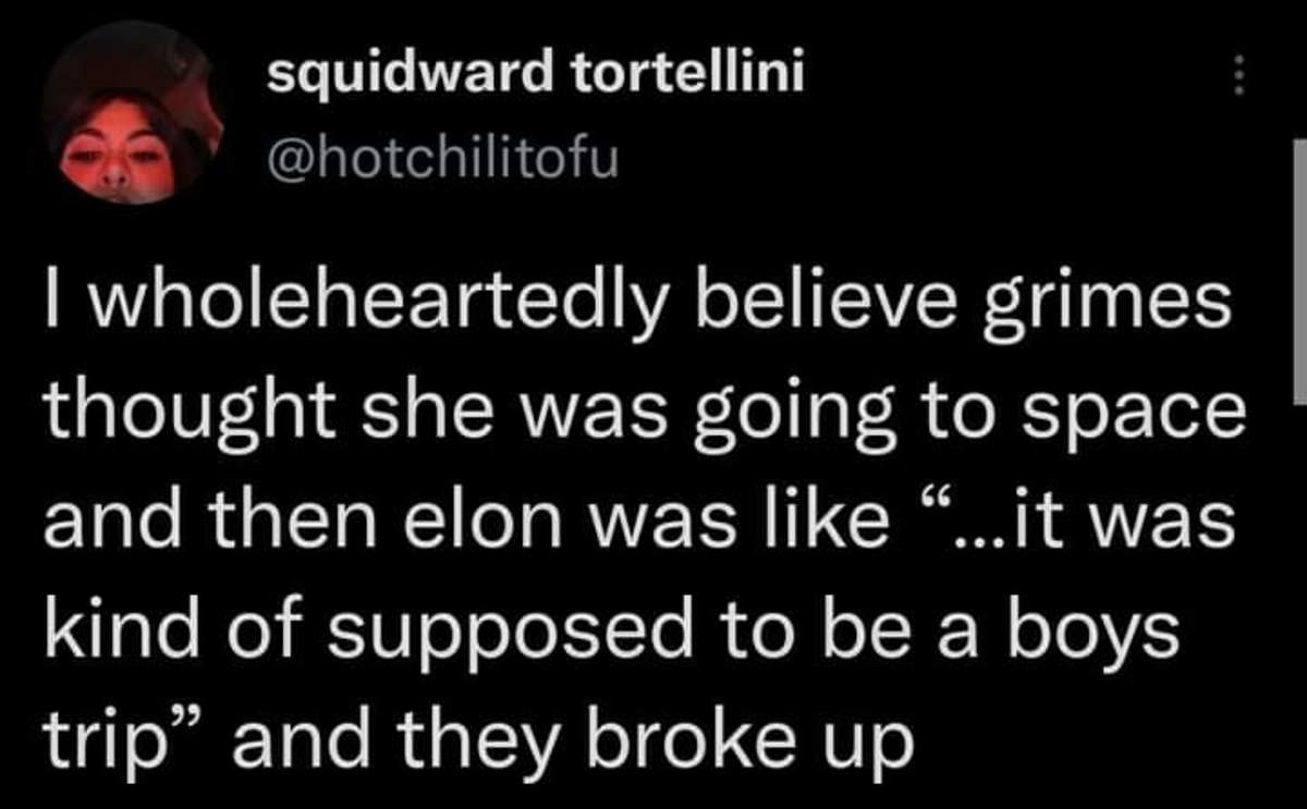 i want to believe. .. Is Grimes famous for anything other than giving birth to Elon's license plate and hosting that one singing competition?