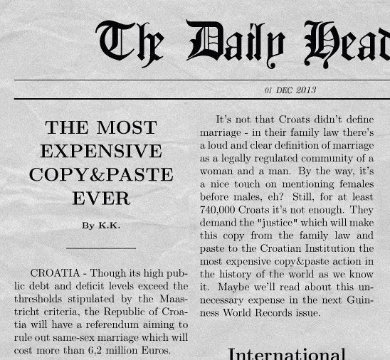 If you think your country is stupid.... ...just remember Croatia just spent 8 million dollars for a copy paste. twilit 3929: THE MOST EXPENSIVE COPY&: PASTE EVE