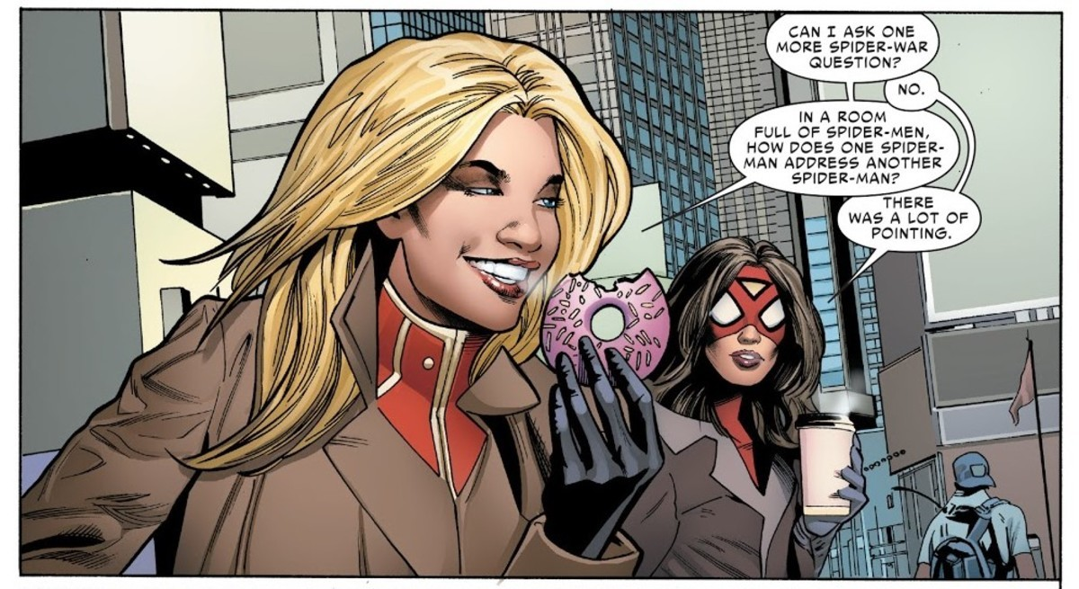 """""""IT'S RUDE TO POINT"""". Spider-Woman (2015) Issue #4 .. Greg land, professional tracer"""