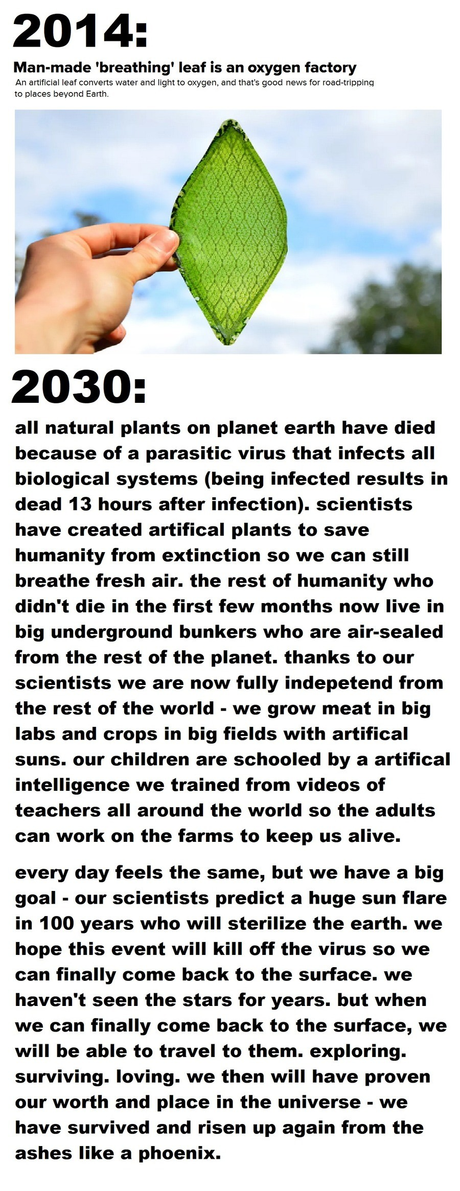 it's the year 2030.... .. Yeah, they'd probably emerge from their respective bunkers as tribe like groups immediately killing each other over land claims.