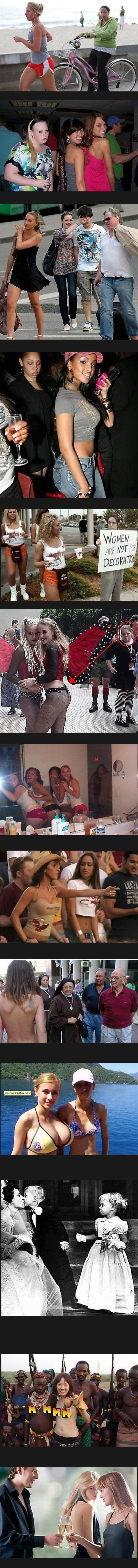 Jealous women. .. I guess the chick in the third pic covered the guys eyes for a good reason. Look at his crotch.