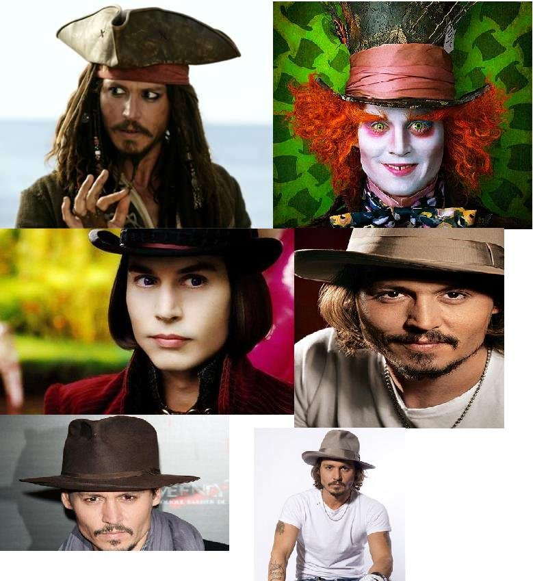 Johnny likes his hats. this man has an uncountable number of hats.. Jonny Depp is part cheroke