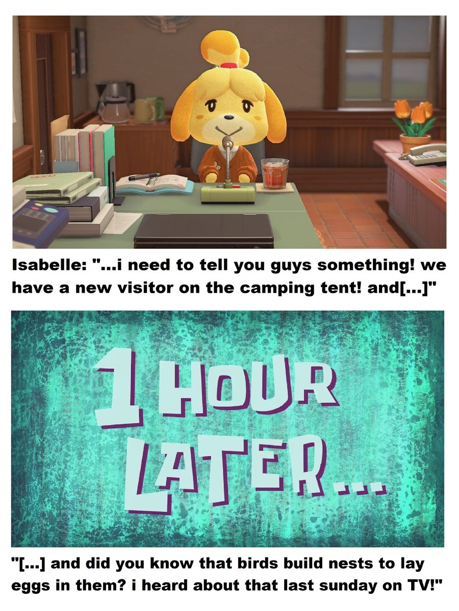 JUST. LET. ME. PLAY... please :c!!!. .. I'd listen to an Isabelle podcast