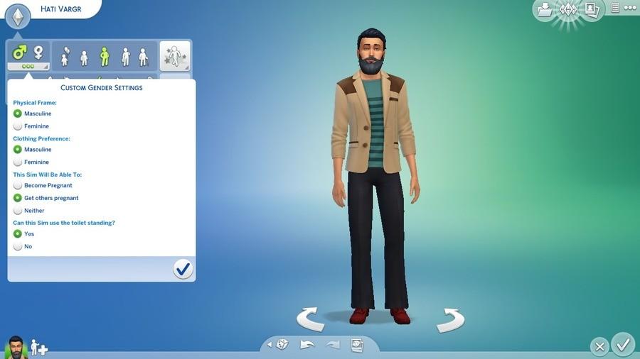 "Just noticed the Sims 4 gender options. . CUSTOM GENDER SETTINGS Physical Frame: 5, Feminine Clothing Preference: O Masculine V. Feminine This Sim will ""ml Able"