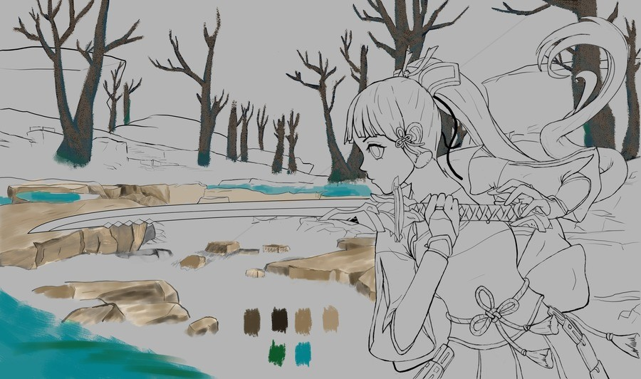 Kamisato Ayaka WIP update. Ayaka wip progress, hopefully I'll be done with this in a few days, got to worry about moving back to Nigeria atm, next post will for