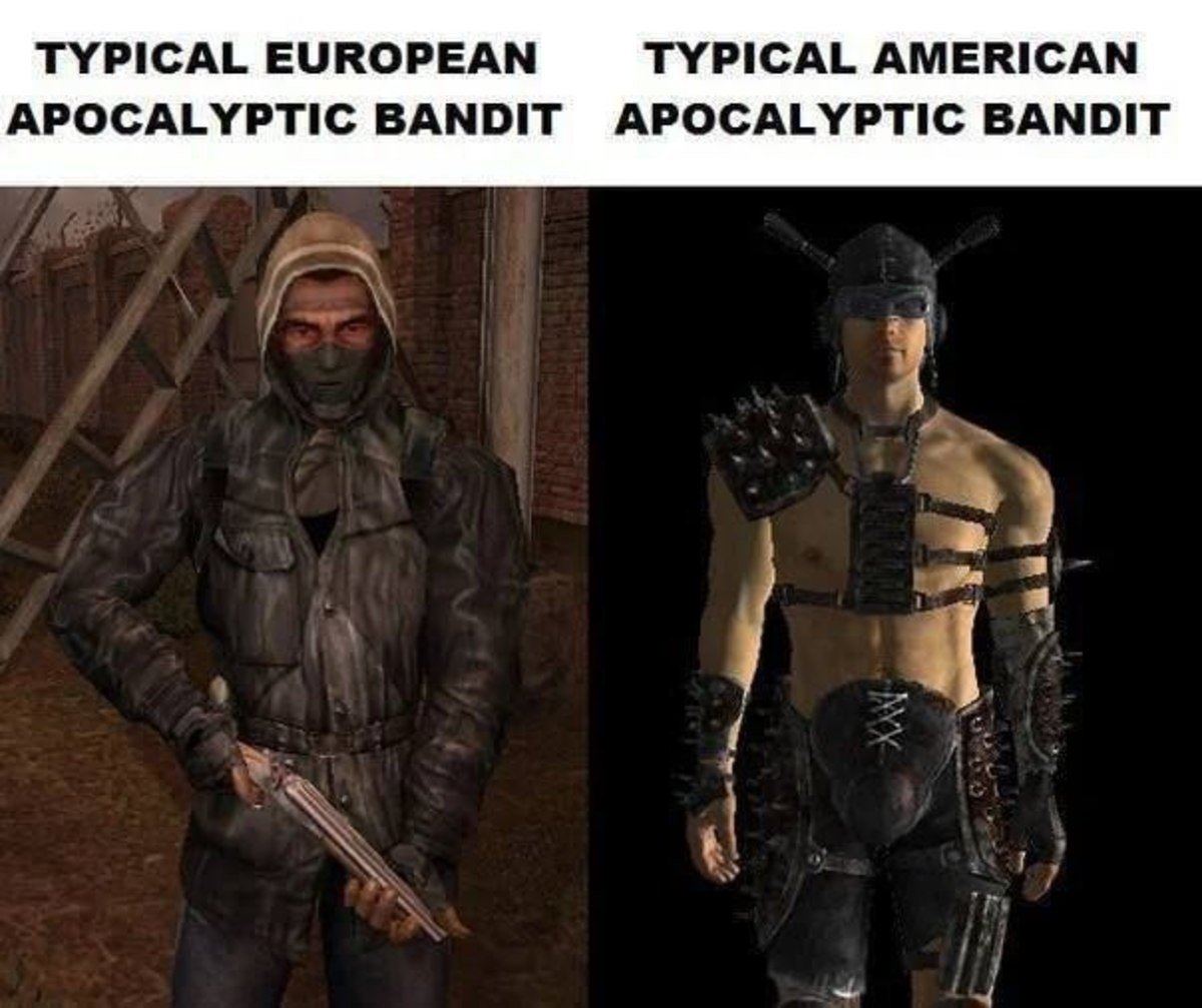know your raiders. .. Imagine the apocalypse happening and you don't immediately get high as and put on BDSM gear. What a loser.