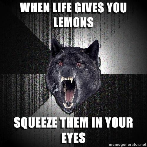 LEMONS. OR YOUR ENEMIES ASSES WITH THEM.. Made me lol.