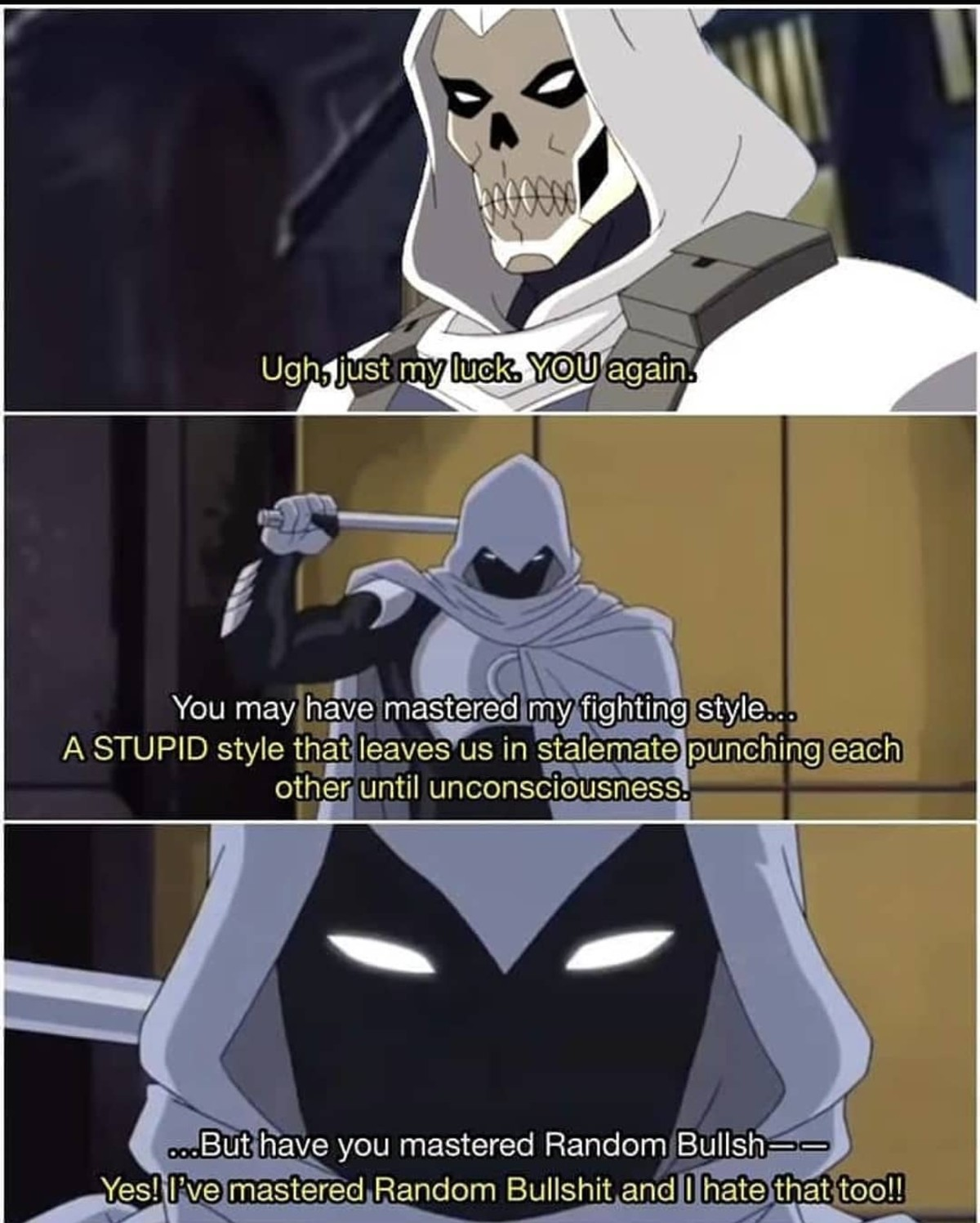 Moon kht is nuts.. .. I like meme moon knight a lot and it sucks that he isn't canon. We need someone with this exact level of edginess and derpiness. Deadpool has gone too far into