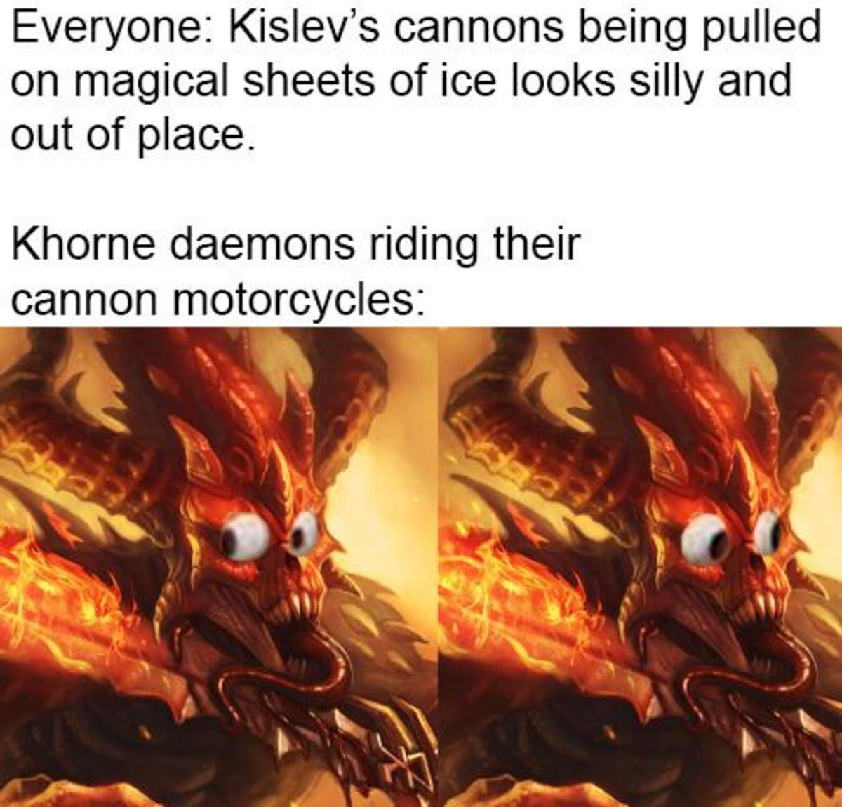 Muh low fantasy, muh grounded in reality. .. Oh man god forbid the ice-skate cannon looks silly next to the dwarven gyrobombers, giant rat wheel laser cannon, war sphynx or steamtank.