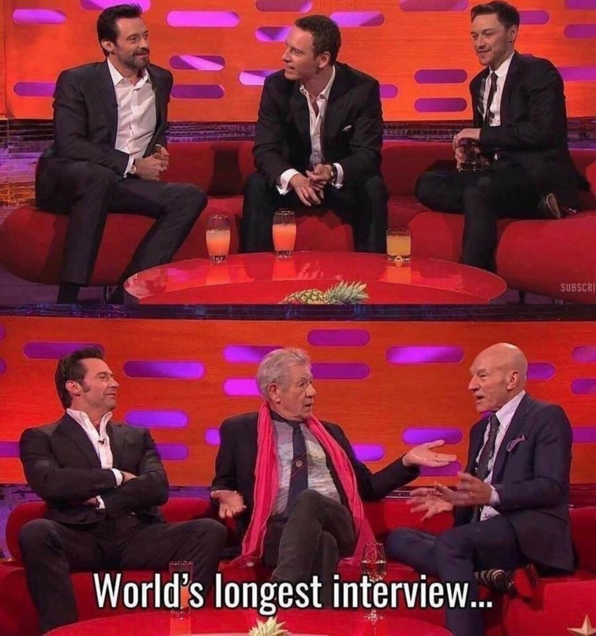 Must have been a ing good interview. join list: MarvelStuff (205 subs)Mention History join list:. Hugh just shaved during that interview, while everyone else aged... I guess his Regeneration powers apply to all cells.