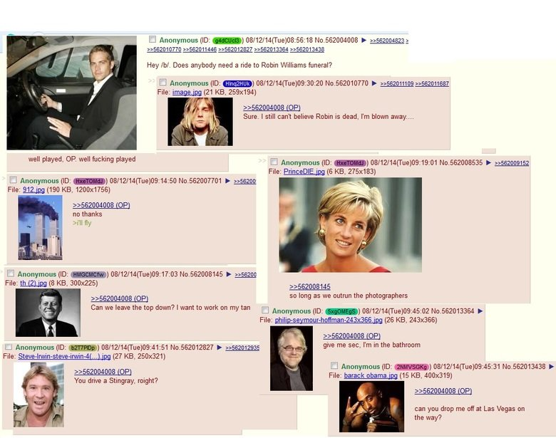 Need a ride to Robin William's funeral?. . 3364 :: 3438 Hey /h/. Does anybody need a ride to Robin Williams funeral? File: image_ _ (21 KB, 259x194) roe} Sure.