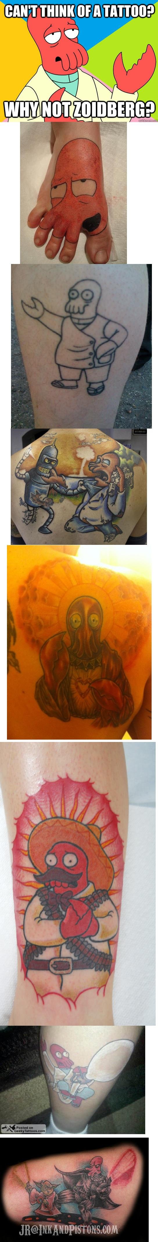 Need a tattoo?. (V) (;,,;) (V). THINK BF ll ?,. I can't tell if Yoda vs Zoidberg is the worst idea for a tattoo or the best idea for a tattoo that I've ever seen...