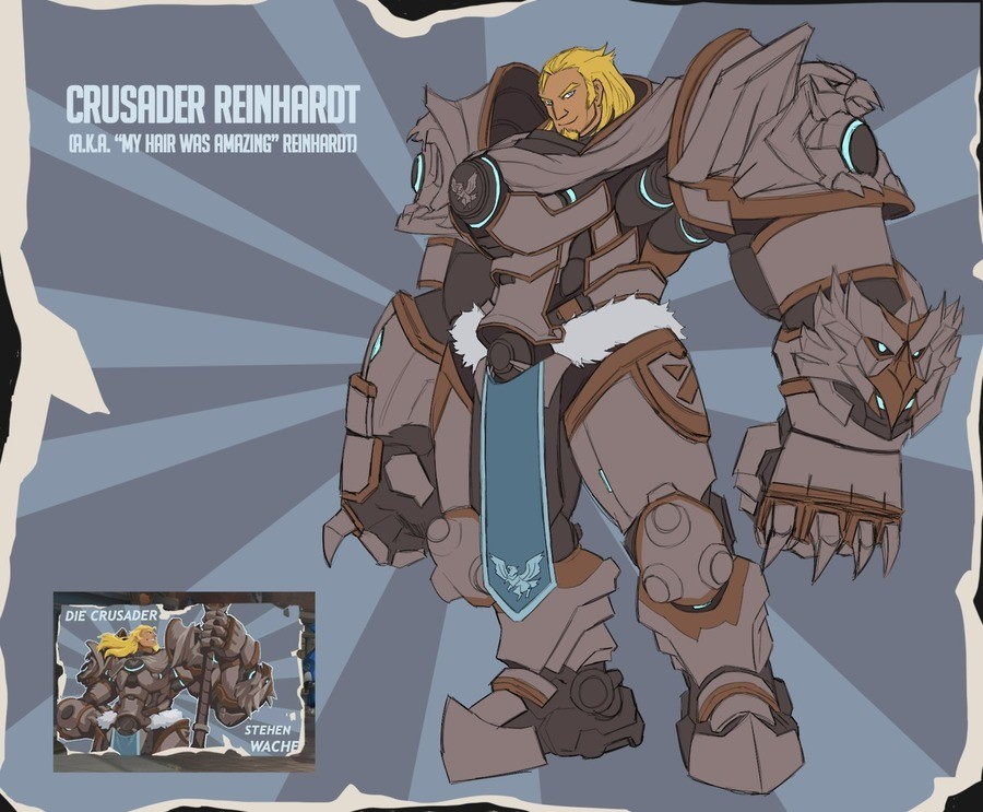 """Need Reinhardt Skin. . STEHEN. It bothers me that is says """"CRUSADER"""" instead of """"KREUZRITTER"""".... especially since they used """"die"""""""