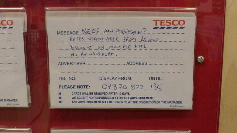 Need an assassin?. . TESCO No Ar, puder, TEL, NO: DISPLAY Fauna; UNTIL: PLEASE NOTE: 4511 1',' c) Cii: I CARDS WILL BE AFTER ttl DAYS., WE KEEN M) . FDR ANY I A