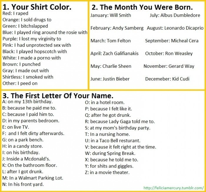 need an idea for a o?. . 1. Your Shirt Color. . 2. The Month You Were Born. Red: I raped January: Will Smith July: Albus Dumbledore Orange: I sold drugs to Gree