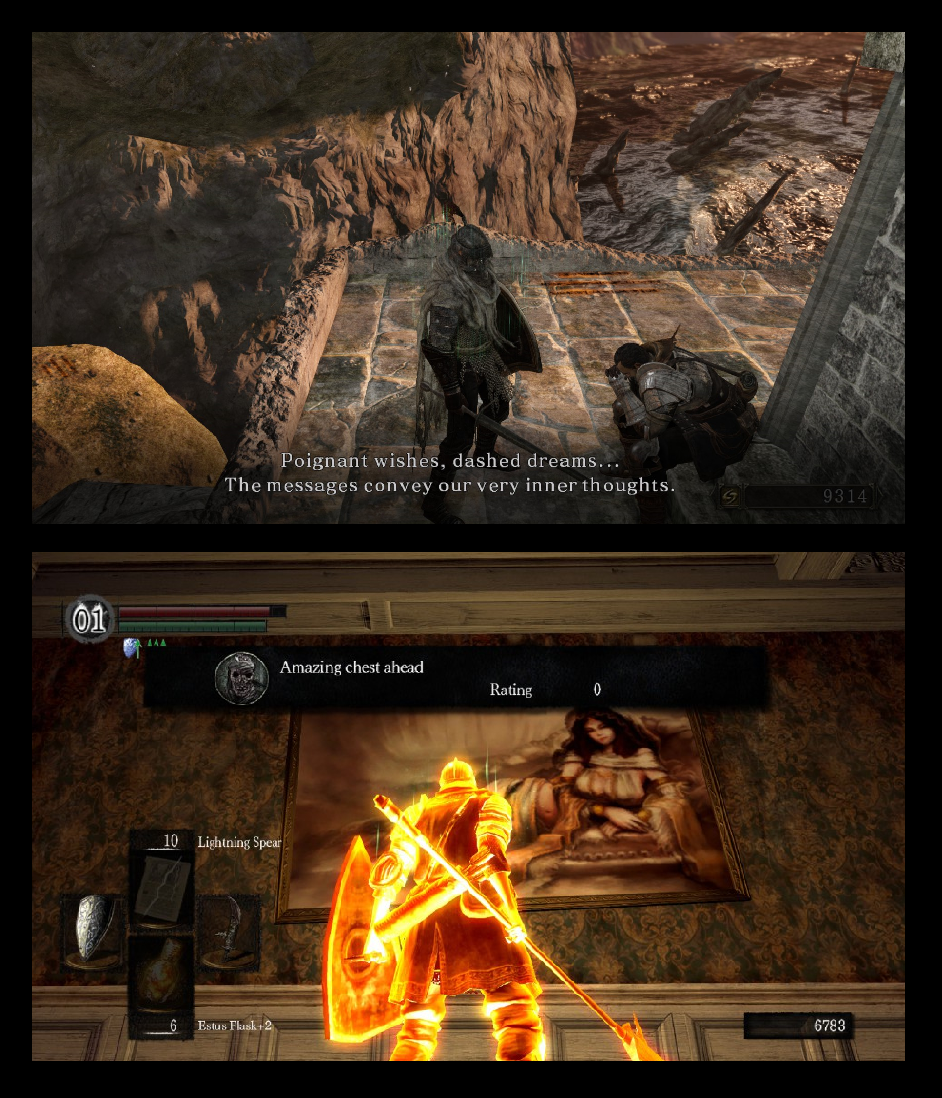 Needs holding with both hands. Dark Souls 1 & 2.. try tongue, but hole