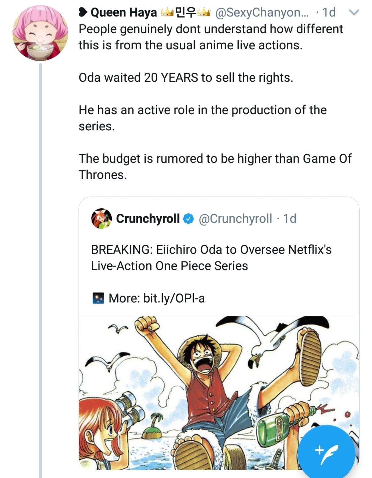 Netflix one piece. join list: onepiece (236 subs)Mention History.. >The staff seems to be racially diverse >Keep a Open mind >Not a carbon copy of the manga