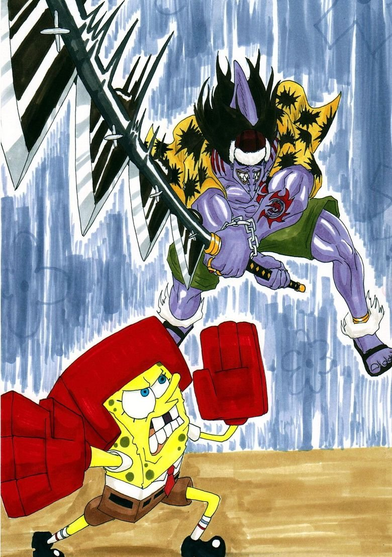 No Contest. .. Arlong is screwed, I mean look at Spongebob's muscles. If I were Arlong I'd back down before I die.