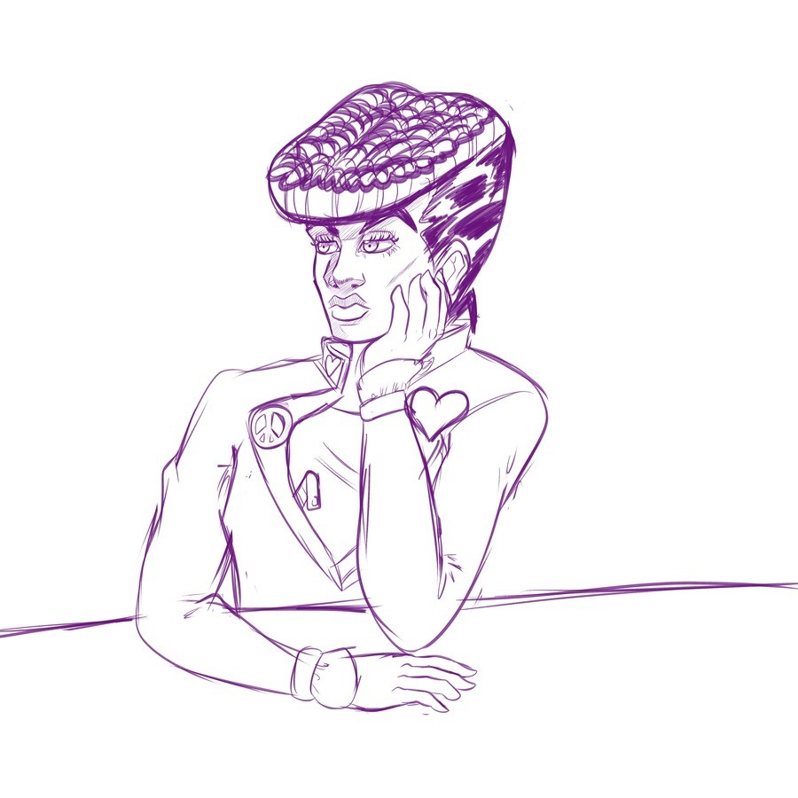No Dignity. Just a sketch of Josuke I made and thought I'd share it. I really need to work on hands though, they're a bitch to draw.. IIC? 'aela q Oishii . IMG