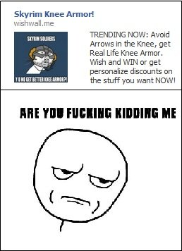 No more I say!. Tired of this .. Skirim Knee Armor, TRENDING NEW: Avoid Arrow's in the Knee, get Real Life Knee Armor, Wish and WIN tar get personalize discount