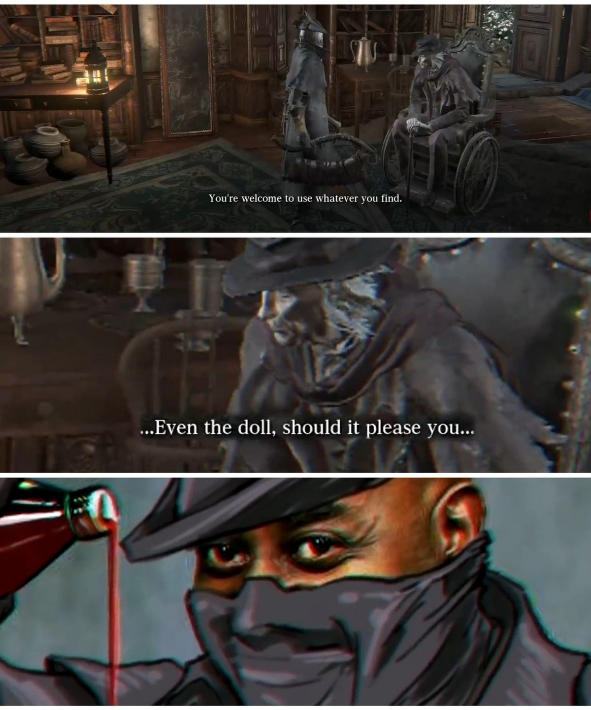 no ty tho. .. Ah, another Bloodborne meme OP. I'm currently at the orphan of kos, hard. it's my fist playthrough, I rolled over most of the bosses, even first tried a bunch o