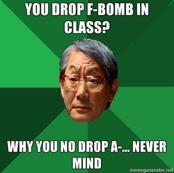 "No F Bomb. Get it because he is Japanese.... Ill DEM FAMILE IN WHY VIII] Ill] UMP "" HEIDEKI MINI]"