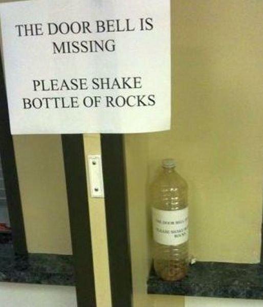 No doorbell? have rocks. . PLEASE SHAKE- BOTTLE OF ROCK