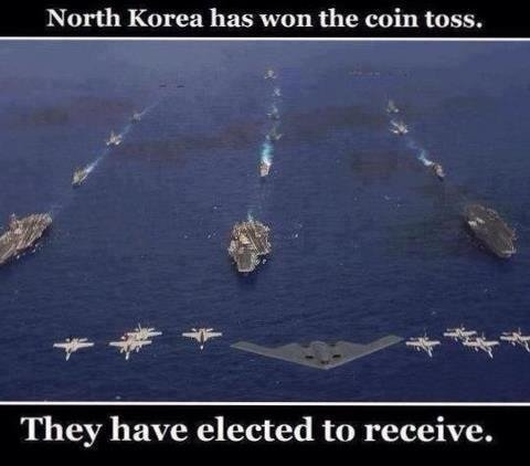 North Koreaaaa. Receiving end is best end.. They have elected to receive.. I think the media is fear mongering, North Korea has never had a successful test launch of ICBMs and now they think that a untested Mid range missile is going t