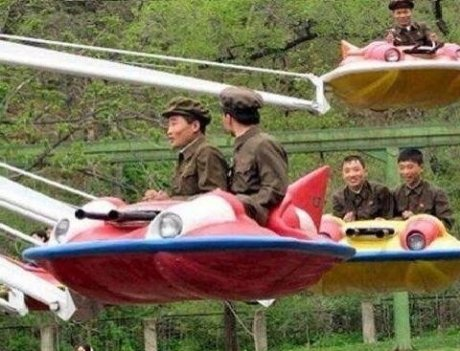 North Korean Air Force. .. Too fat to get on plane.