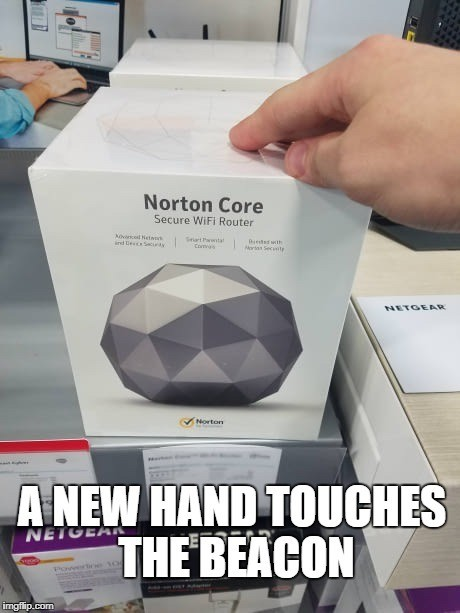 Norton Core. Saw this thing at Best Buy, this was the only thing I could think... DAMN YOU MERIDIA!!! Be me, take smart ass dog to shrine of Clavicus Vile. Go to be rewarded, Clavicus tells me you need to go to some cave up near the whitest p
