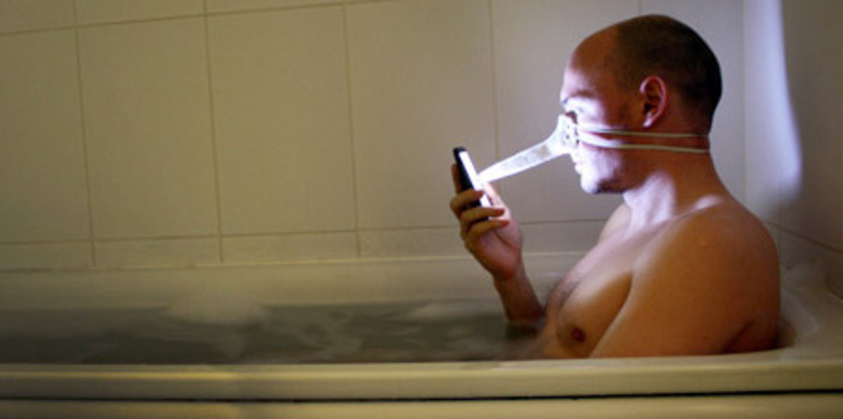 Nose Stylus. Dominic Wilcox created a face mask inspired stylus for touchscreen devices. It was designed for people who use their cell phones in the bathtub. Th