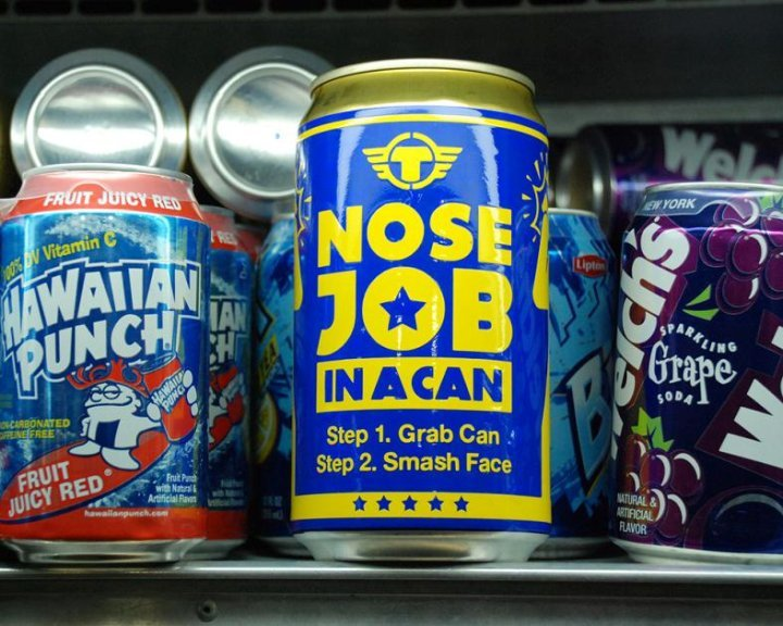 Nose job in a can!. my first ever upload.. hail FJ! <br /> thot would upload sumthing rather than jus sit and laugh.. o___o. Step 1. Grab Can . Step 2. Sm