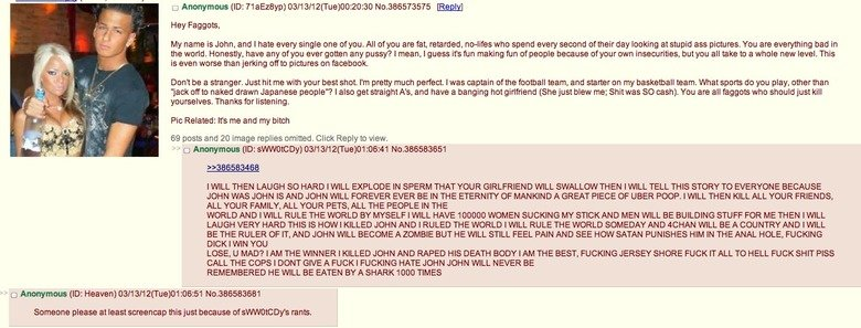 Oh /b/.... Im pretty sure that the post has been on fj and someone posted this as them on /b/, but this is a different response to it. I lol'd, thought I would