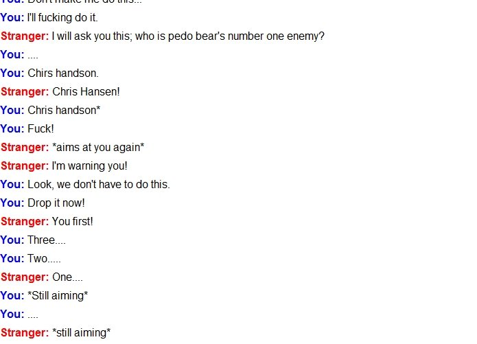 Omegle Zombies Part Two. The two continue to argue.... Part One: pictures/2236500/Omegle+Zombies+Part+One/ pictures/2236500/Omegle+Zombies+Part+One/.. Why the can't I link part one?