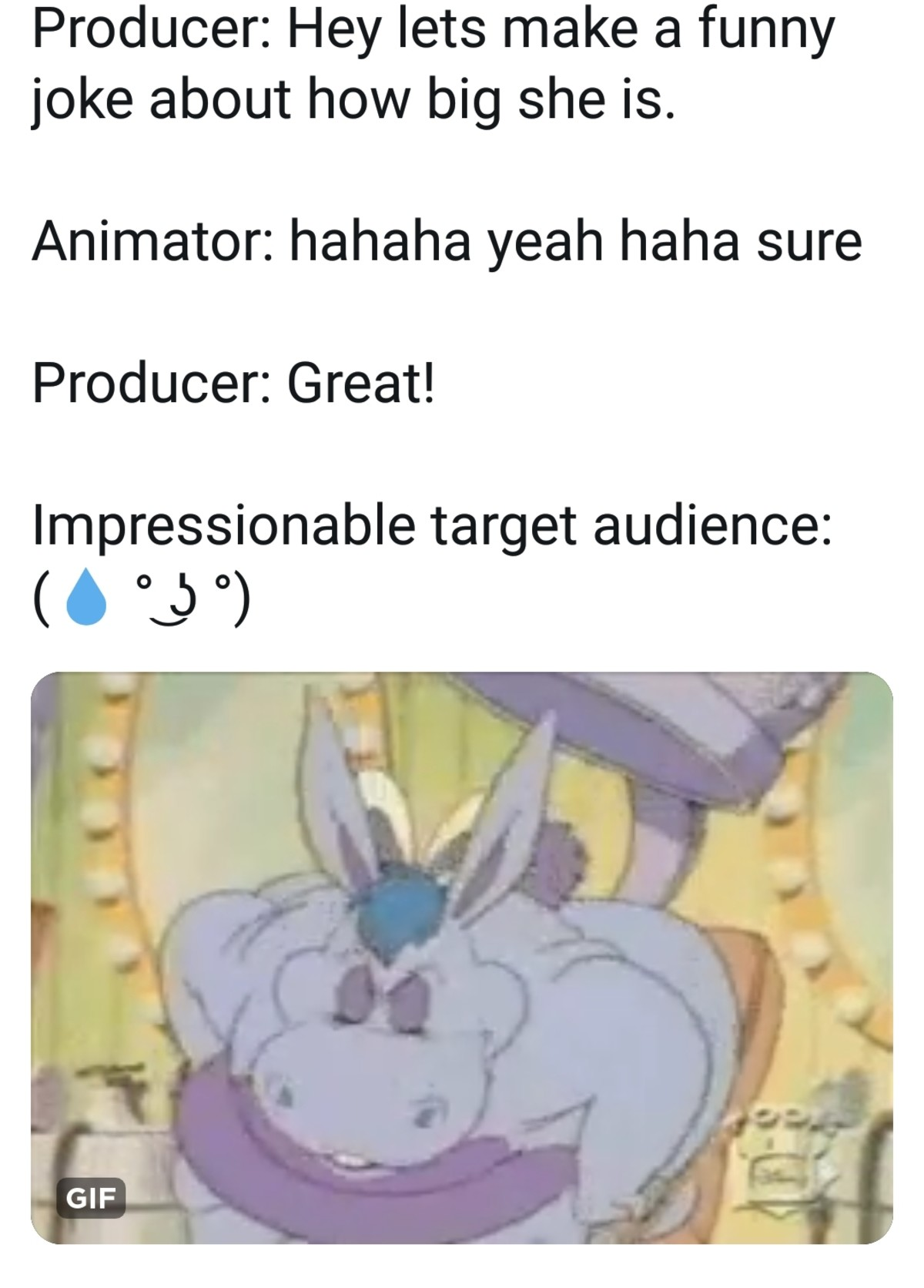 Ooog. join list: Weirdfetishthings (1187 subs)Mention History. Producer: Hey lets make a funny joke about how big she is. Animator: hahaha yeah haha sure Produc