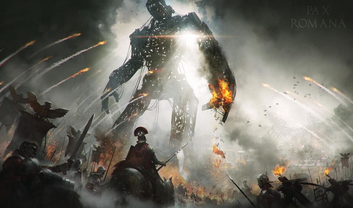 Pax Romana by Joakim Ericsson. .. colossi are cool. Definitely a favorite monster/construct in any setting.