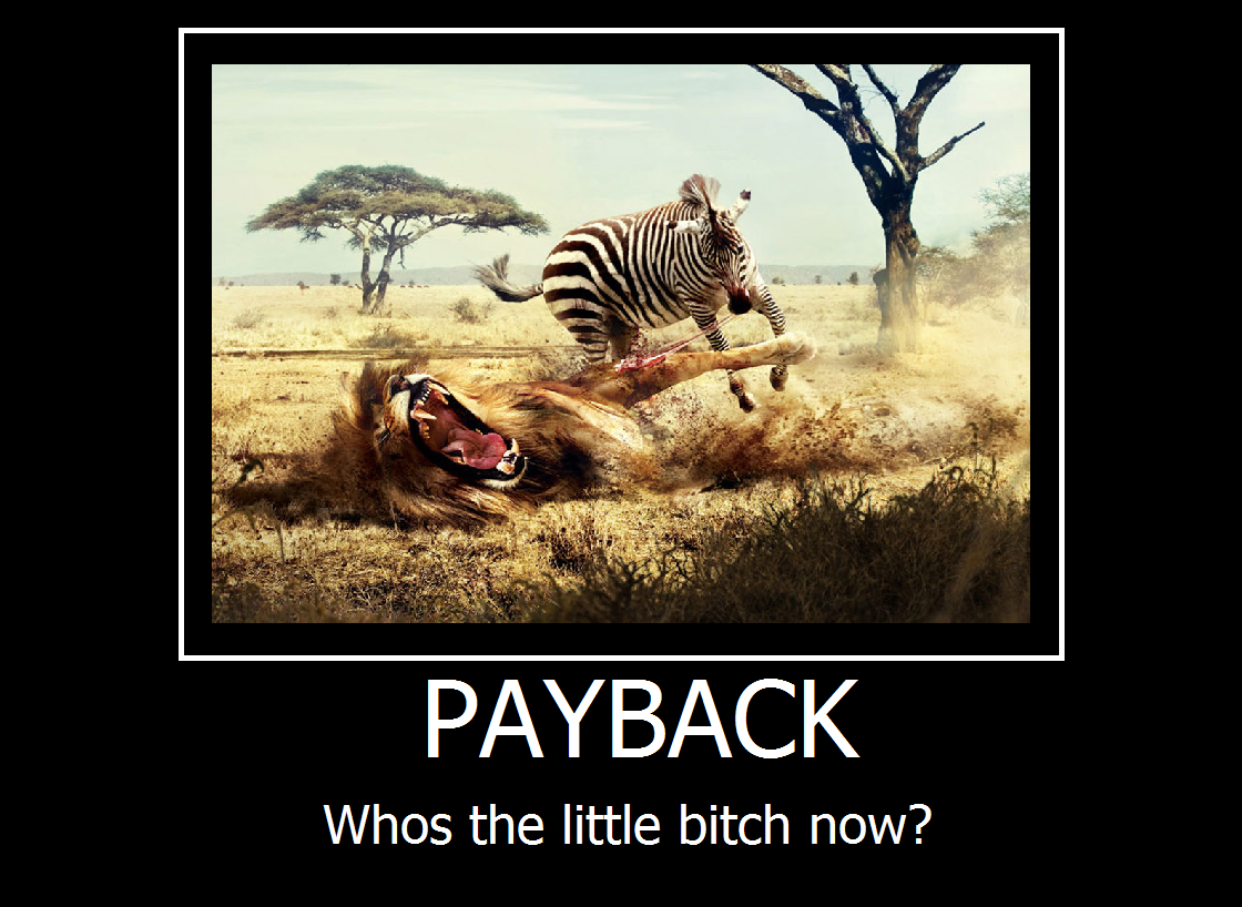 Payback. Lets see how you like it, bitch.. Whos the little bitch now?. I'd be lion if I said that wasn't pretty funny