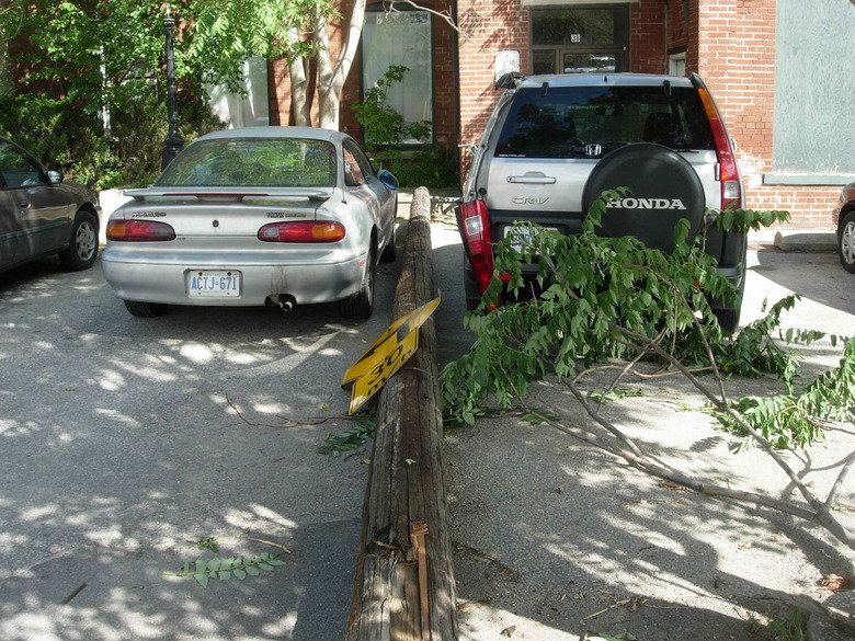 """Pole Bounces Off Two Cars!. .. Unfortunately, it was my """"lucky day""""!"""