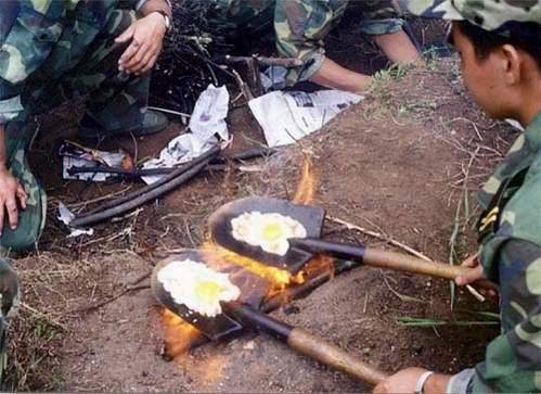 poor soldier's breakfast. .. how is this poor? if you were in the army that is what you will have to do if you dont have any pots or pans to cook with, you gotta improvise...asshole