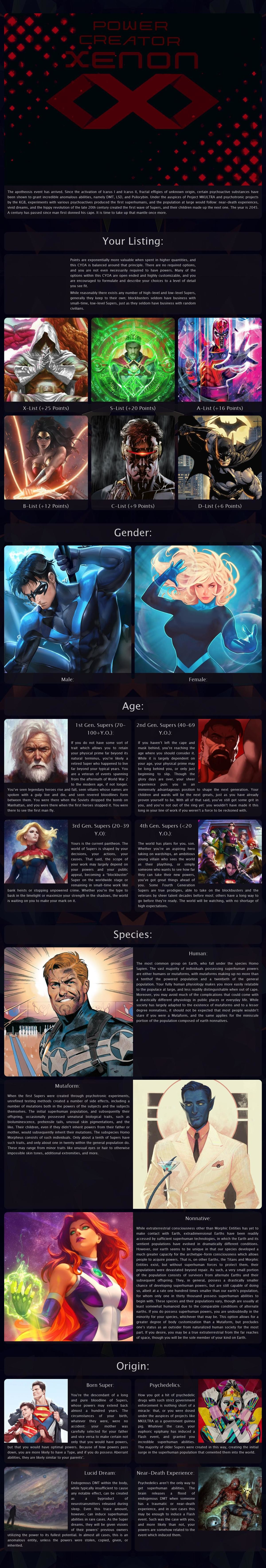 Power Creator Xenon CYOA. .. This is just too much for me, but it looks like it could be fun for others, if you created this, or know who did I would suggest that a lot of the information g