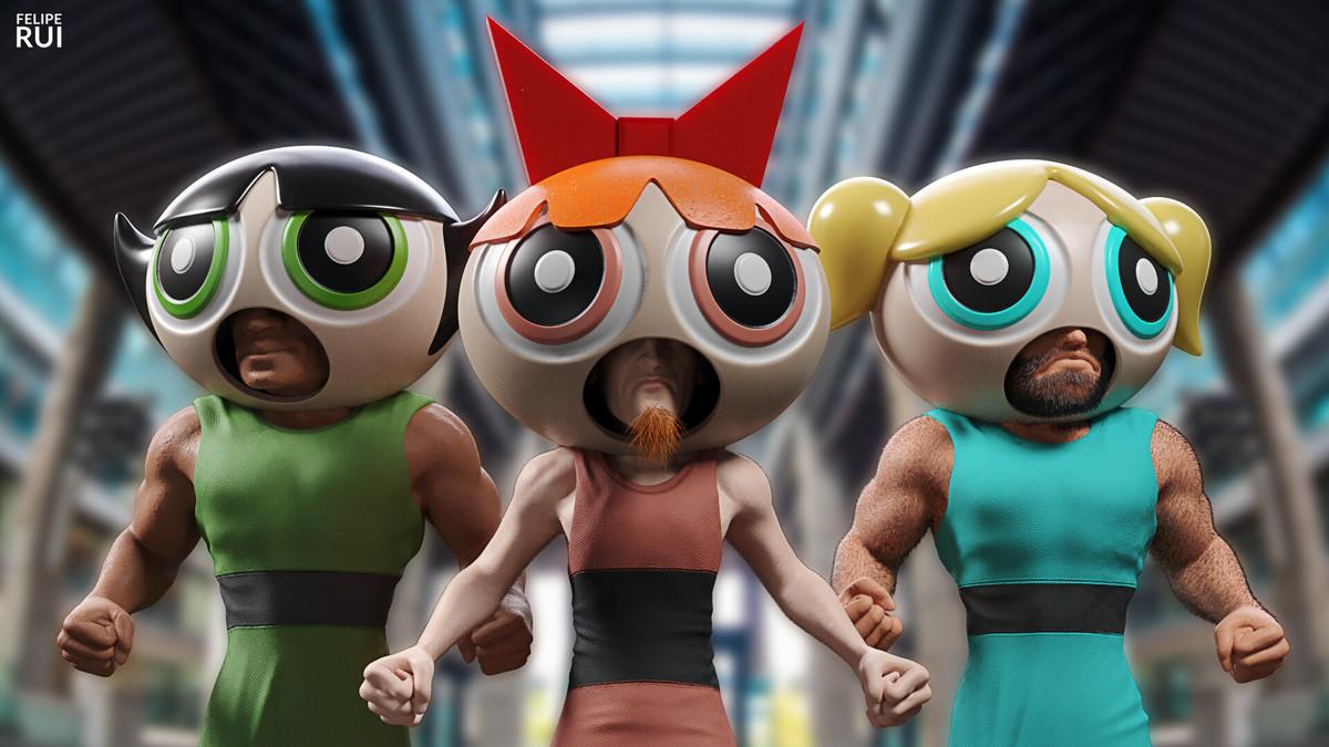 Powerpuff Gang. .. Doomguy, Postal Dude, and Quake Guy
